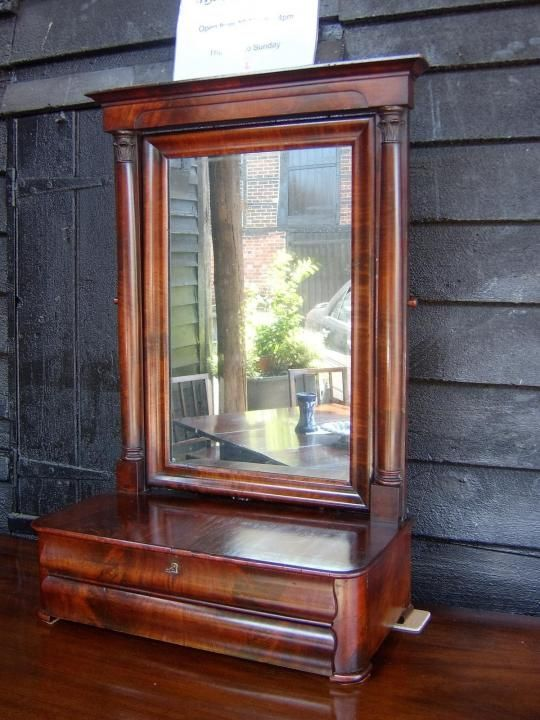 Large French Empire Period, Figured Mahogany Toilet Mirror | Looking For Antiques