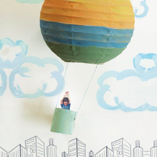 Use a paper lantern and paper towel roll to make a personalized hot air balloon inspired by the book Oh the Places You'll Go!
