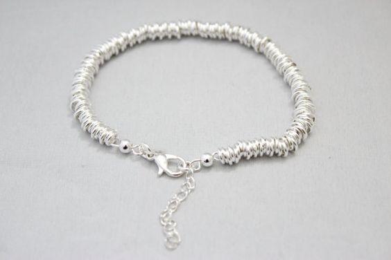 Silver 925 mini round wire handmade bracelet by SkylaBoutique #silverbracelet #wirebracelet #metallicbracelet