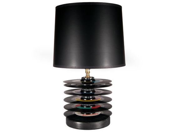 Small Accent Table Lamp Unique Vintage Upcycled 45 Black