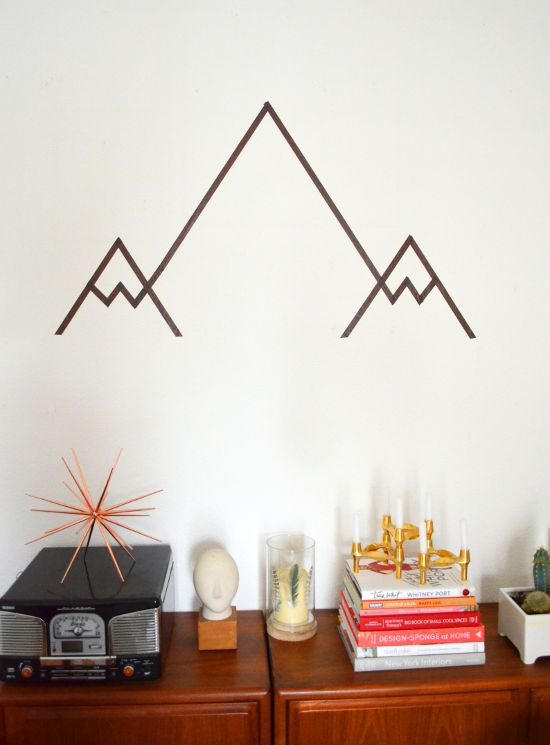 geometrisches gebirge diy washi tape mountain wall art