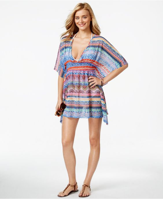 Jessica Simpson Open-Back Printed Cover-Up - Swimwear - Women - Macy's