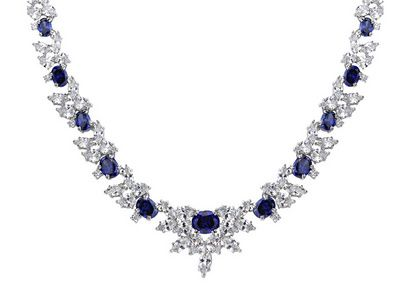 "Bella Luce (R) 123.65ctw Tanzanite Color Rhodium Plated Sterling Silver 18"" Necklace"