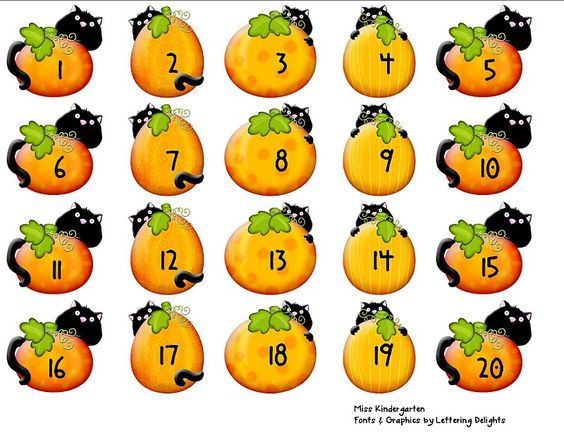 Miss Kindergarten: Lettering Delights - Numbers 1-20 (matching, sequencing, writing)