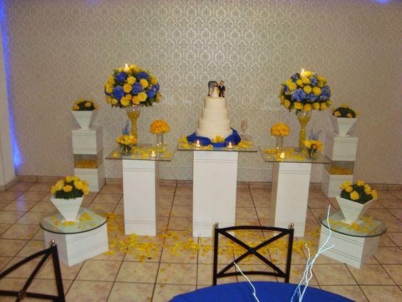 mesa de casamento amarela e azul simples - Pesquisa Google