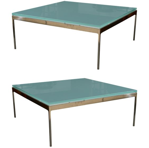 Sleek steel frosted glass coffee table by nicos zographos steel glass coffee tables and Sleek coffee table