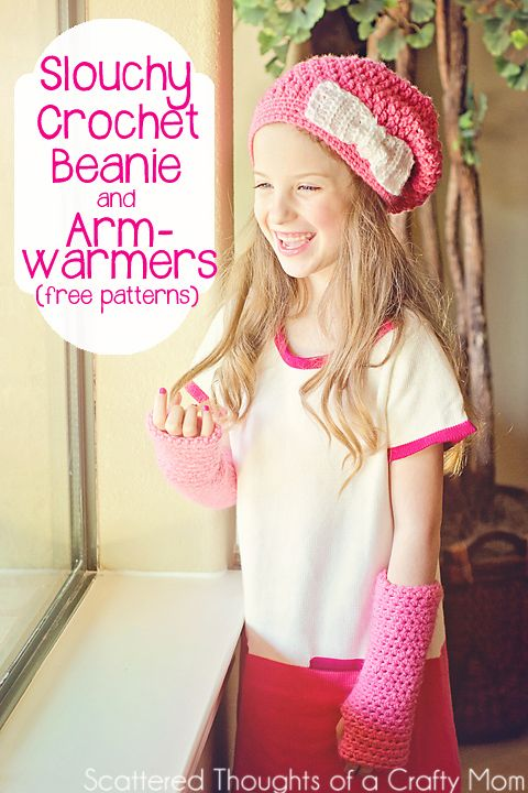 Crochet Beanie and Arm Warmers made with free patterns! #crochet ...