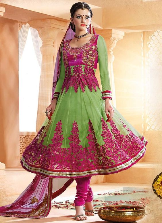 Delightful Green Net Anarkali Suit