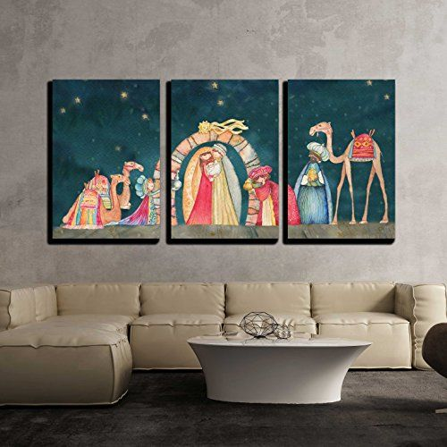 Wall26 3 Piece Canvas Wall Art Illustration Christian Https Www Amazon Com Dp B072wpt6c Christmas Wall Art Christmas Nativity Scene Holiday Wall Decor