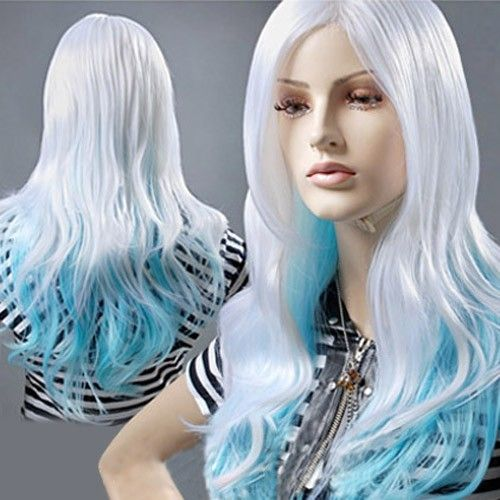 white blue mixed wig 68cm long cosplay party wig cosplay party white ...