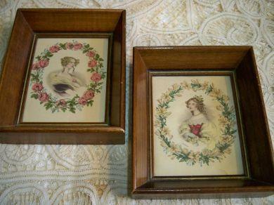Vintage Framed 19th Century Ladies Cameo Prints Pair