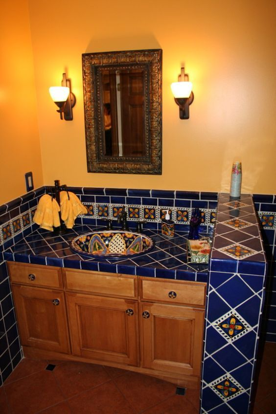 Found On Bing From Www Pinterest Com Spanish Style Bathrooms Mexican Tile Bathroom Mexican Home Decor