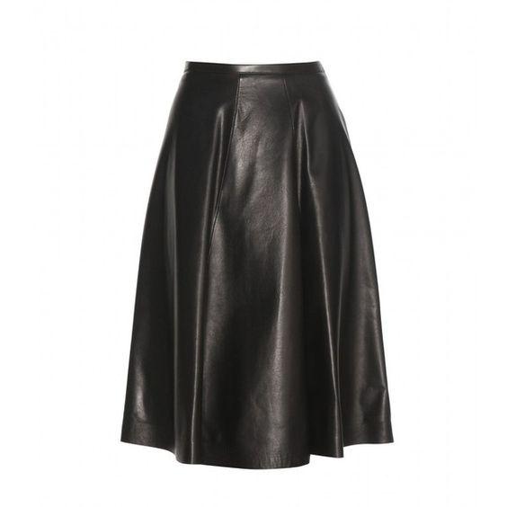 Burberry London Leather Skirt (27 055 ZAR) ❤ liked on Polyvore featuring skirts, black, burberry skirt, knee length leather skirt, black skirt, burberry and black knee length skirt