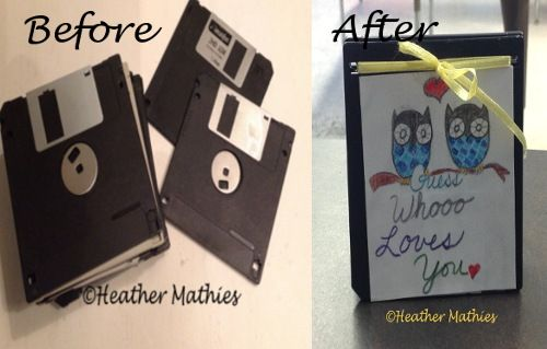 repurposed floppy disks to valentine gift, crafts, how to, repurposing upcycling, seasonal holiday decor, valentines day ideas