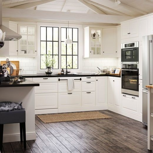 Bodbyn White Door Dronts With Nutid Appliances And Nils Stool Ikea Bodbyn Kitchen Kitchen Cabinets And Cupboards Kitchen Cabinets Canada