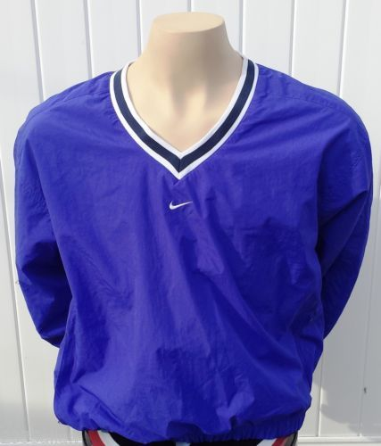 Nike Mens Pullover Windbreaker Sz L 12-14 Jacket V Neck Excellent