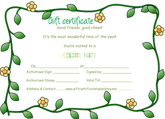 Green flowers border gift certificate template Beautiful - gift certicate template