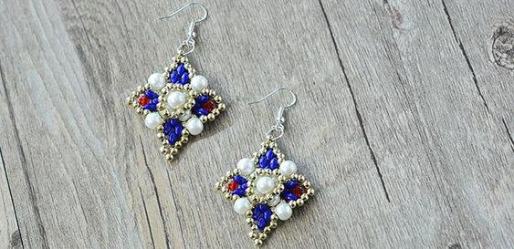 Wie Empfindliche Friesen quadratische Ohrringe mit Perlen und 2-Loch-Seed Beads…