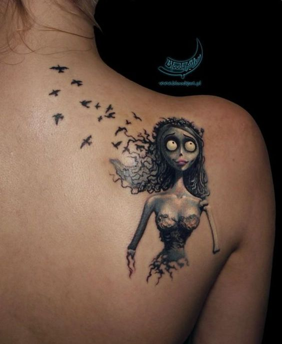 Corpse Bride Tattoo. Whoever designed this is obviously not as big of a fan as they should be. Those birds need to be butterflies just like the end of the movie when Emily finally gets to move on... Stupid..