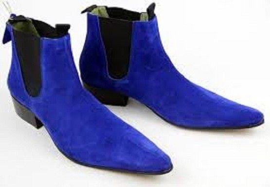Handmade Men royal blue Suede Chelsea