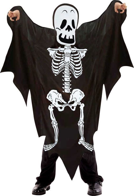 Costume adulto XL Scheletro con tunica nera e cappuccio staccato. Travestimento per Halloween e Carnevale. Disponibile da C&C Creations Store