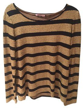 Calypso T Shirt Gold with navy stripes
