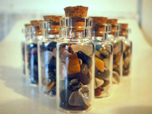 Set of 10 Gemstone Vials Glass Jars Lucky Charm Minerals Healing Peace Rocks Treasure Good Fortune Geology Collectible Gem Gift