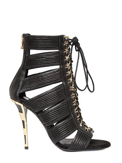 BALMAIN - 110MM HOPI LEATHER CAGE SANDALS - LUISAVIAROMA - LUXURY SHOPPING WORLDWIDE SHIPPING - FLORENCE