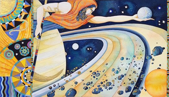 KINGDOM OF THE SUN - SATURN original painting (Hi- (With images) | Painting,  Art, Artwork