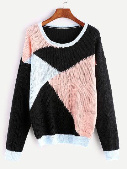 Color Block Drop Shoulder Seam Sweater