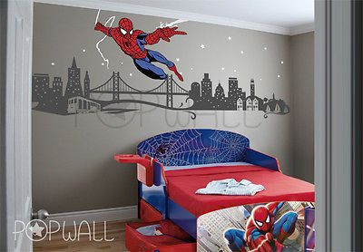 Spiderman Wall decal Super Hero Cityscape - Avengers Wall sticker for Kids Room