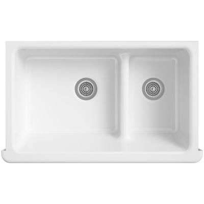 KOHLER Whitehaven Undermount Cast Iron 35-1/2 in. 0-Hole 60/40 Double Bowl Kitchen Sink in White-K-6427-0 at The Home Depot