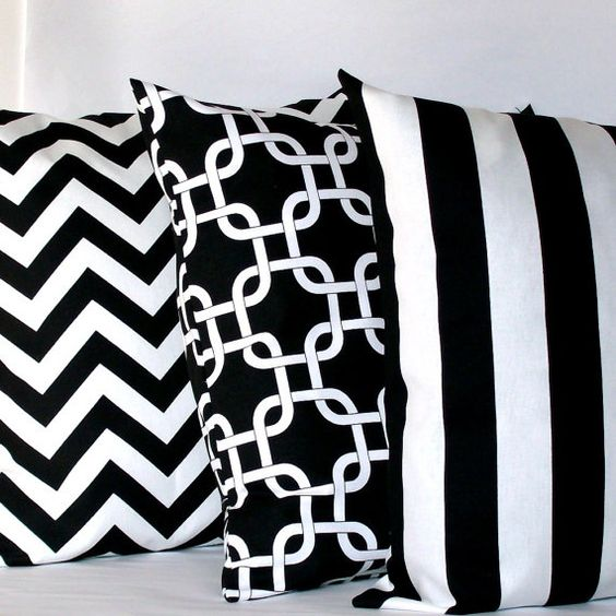 Black And White Pillow Covers Three 18x18 Inch Striped Chain Chevron Decorative Cushion