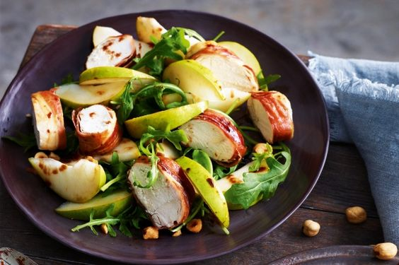 This colourful chicken salad stars salty prosciutto, crisp pears and a deliciously sticky balsamic glaze.
