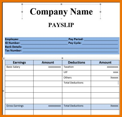 Salary Slip Format Pdf  Budget  Kutty    Rv