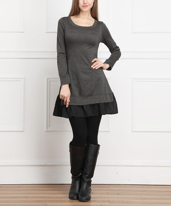 Another great find on #zulily! Charcoal Ruffle Scoop Neck Dress by Reborn Collection #zulilyfinds