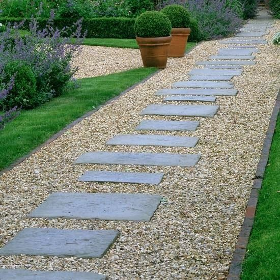 Pea gravel lined with brick and pavers in different sizes for Landscaping ideas stone path