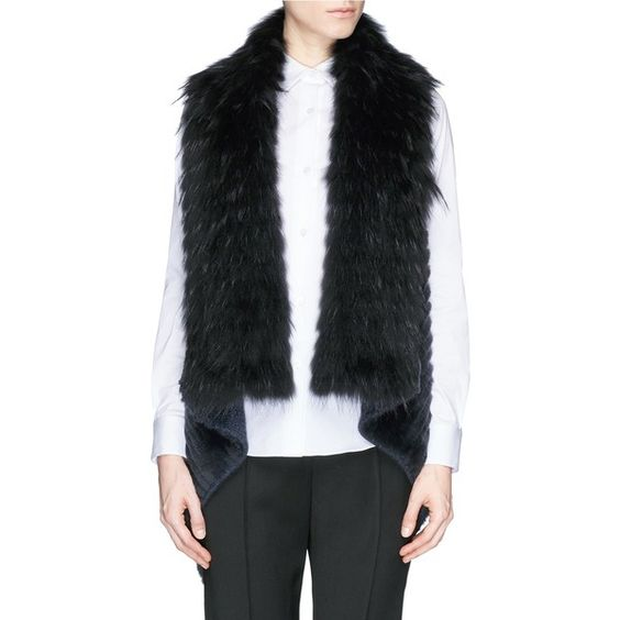 Yves Salomon Rabbit fur collar raccoon mink knit gilet (25 410 ZAR) ❤ liked on Polyvore featuring outerwear, vests, blue, blue vest, sleeveless knit vest, long sleeveless vest, black vest and sleeveless waistcoat