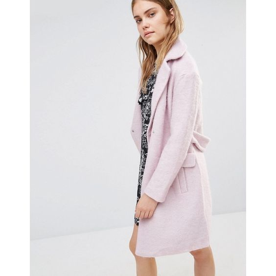 Lost Ink Cocoon Coat (£88) ❤ liked on Polyvore featuring outerwear, coats, pink, pink cocoon coat, reversible coats, pink coat, double breasted coat and tall coats