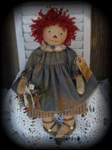 Primitive Olde Folk Art Americana Raggedy Ann Doll with Rusty Barn Star | eBay