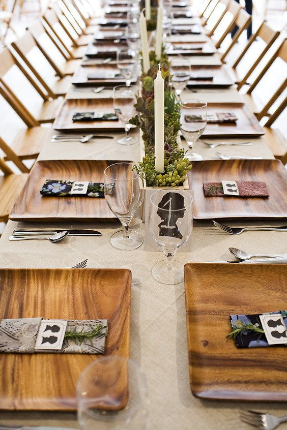 table decor. love the silhouettes.: Table Settings, Table Decor, Place Settings, Wedding Ideas, Wood Tray, Wood Plates, Wooden Plates