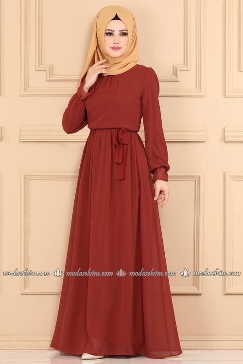 Modaselvim Elbise Sifon Tesettur Elbise 4198ef311 Kiremit Elbise Islami Giyim Elbiseler