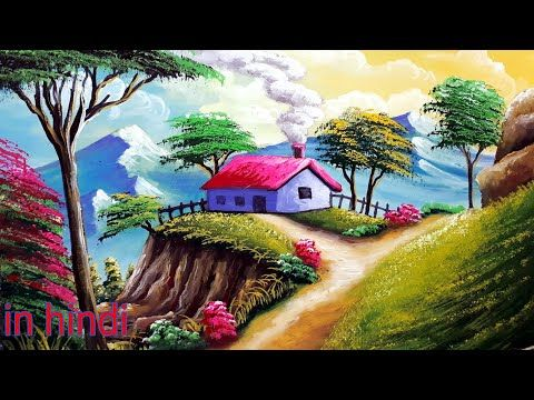 Beautiful Mountain Village Scenery Painting Watercolor Nature