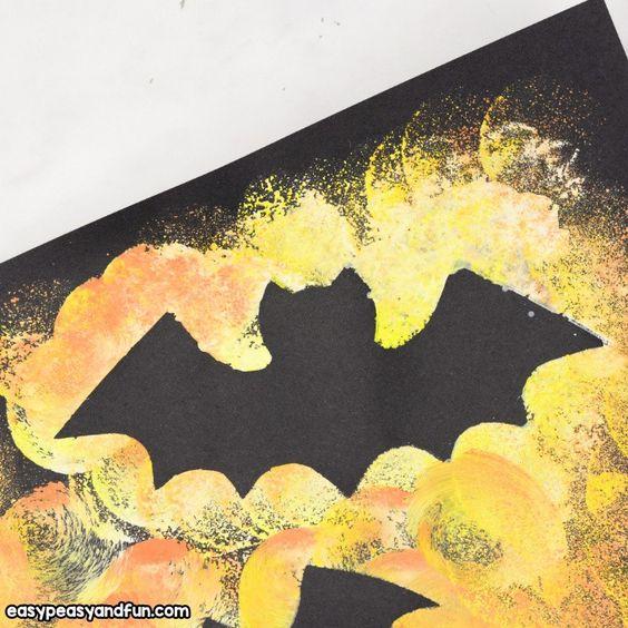 Fledermaus Silhouette Halloween Kunst Halloween Kunst Basteln Halloween Kunstprojekte