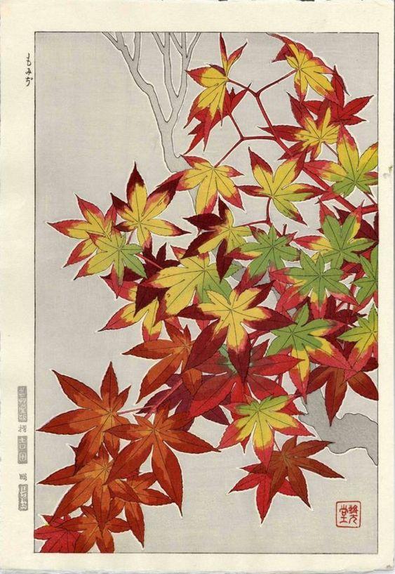 Maple leaves, woodblock print by Shodo Kawarazaki, ca. 1950.