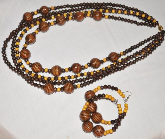 African Jewelry Wooden Bead Necklaces And Wooden Beads On