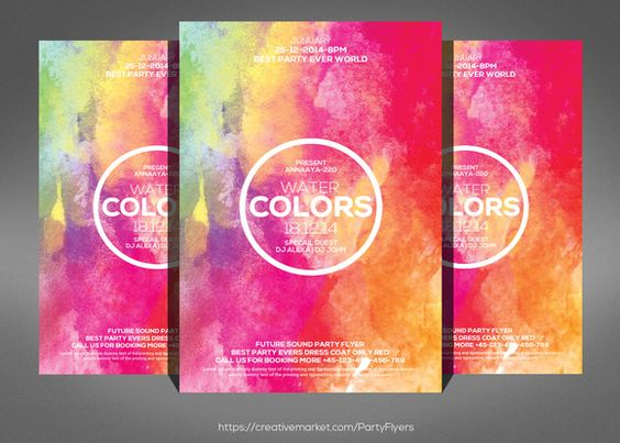 Art Festival Flyer Template by Party Flyers on @creativemarket - free printable flyer templates