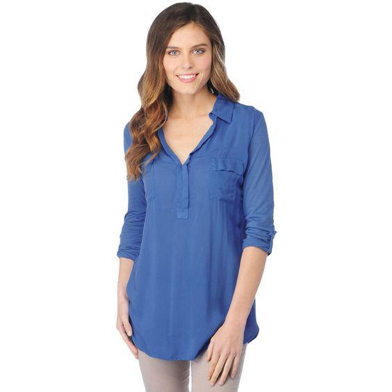Splendid 3/4 Sleeve Shirting Top ($88) ❤ liked on Polyvore