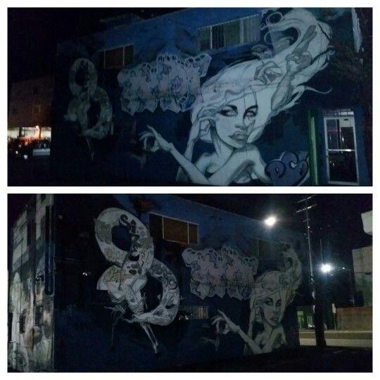 Famous StreetArtist Asylum @asylumartwork leaves some murals  on the side of Paper Scissors Rock Hair Salon in Speedway & 17th Pl. in Venice, California.