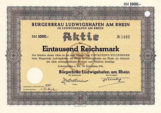 Bürgerbräu Ludwigshafen am Rhein, Aktie über 1000 RM von 1941 + SEHR SELTEN!